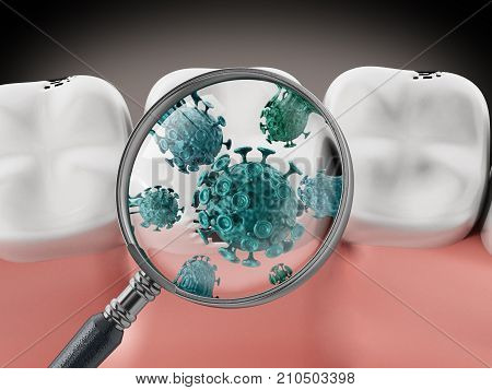 Magnifying glass on green bacteria. 3D illustration.