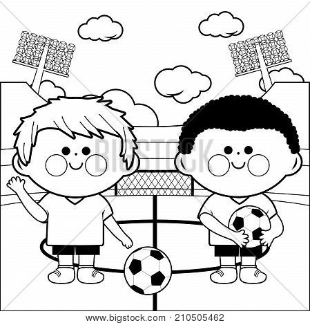 Two young children soccer players at a stadium. Black and white coloring page illustration
