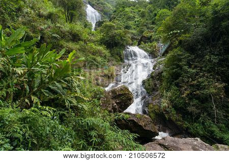 Spectacular Landscape Of Large Waterfall