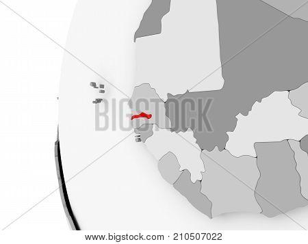 Gambia On Grey Globe