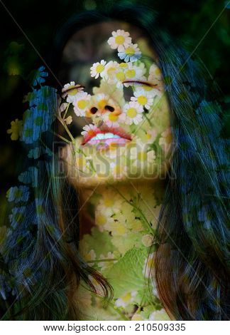 Feminine aspects of nature bloom along with her peaceful and relaxed expression