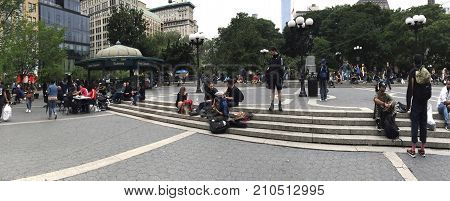 NEW YORK NEW YORK USA - JUNE 5: Panoramic of 14th street and Union Square. Taken June 5 2017 in New York.