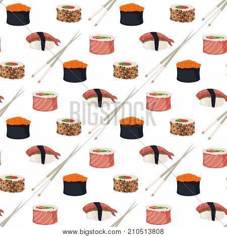 Sushi rolls set sashimi seafood fish rice japanese food fresh soy sauce japan meal maki raw shrimp restaurant traditional asian cuisine vector illustration. Seamless pattern background appetizer.