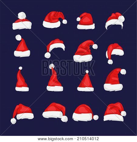 Santa Claus red hat isolated New Year 2018 santa red hat . Santa Christmas hat decoration. vector illustration in flat style