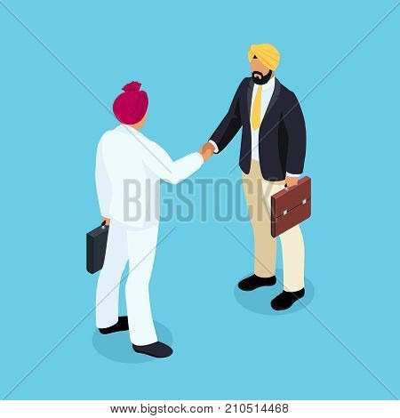 Isometric businessmen shake hands. 3d Indian businessmen came to an agreement and completed the deal with a handshake. Template for banner or infographics. Vector illustration.