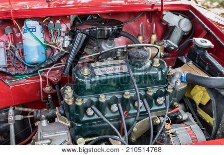 Engine Of Morris Mini-minor 850 (1960) Presented On Annual Oldtimer Car Show, Israel