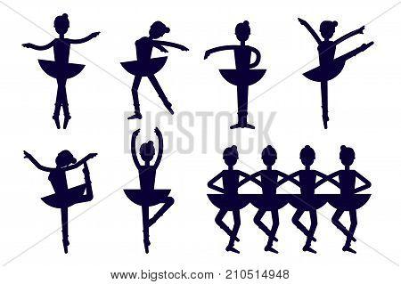 Ballerina silhouette poses isolated on white background. Ballet icons vector. Ballet dancer, princess, ballerina girl in dancing vector stock illustration. Swan lake illustration