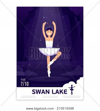 Ballerina in dancing on the stage with light on the dark violet background. Ballet poster design. Ballet prima ballerina performance. Ballerina vector flat banner stock illustration.