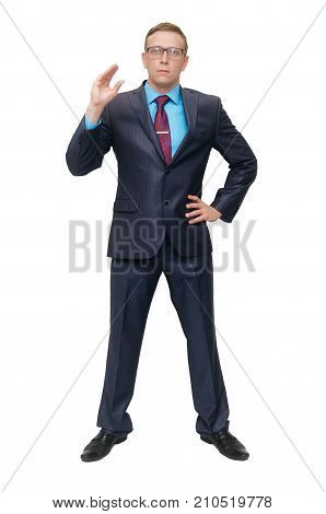 A business man in a suit and glasses is skeptical and shows a gesture of empty chatter isolated on white background. Talking lies. Strict boss.