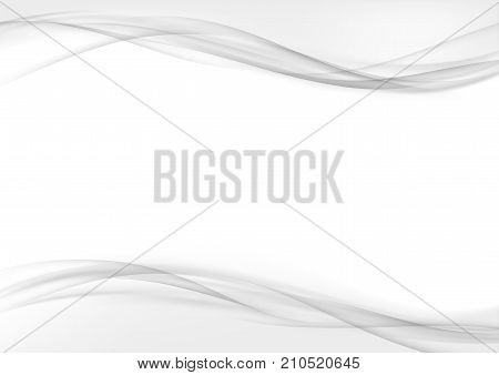 Light weight transparent fashion smooth border lines background. Abstract mild soft swoosh wave. Grey halftone modern certificate brochure or print report page. Smooth layout. Vector illustration