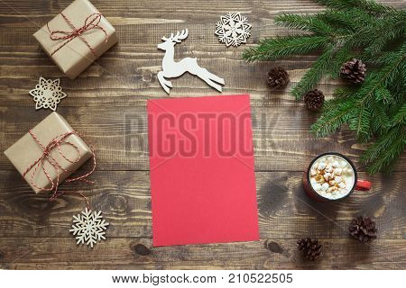 Christmas Empty Blank Letter For Santa Or Your Wishlist Or Advent Activities. Top View And Space For