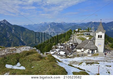 Lussari Italy - September 23rd 2017. The small village of Lussari on Monte Lussari Friuli Venezia Giulia north east Italy. The village is within a ski resort area but at this time of year it is still out of season