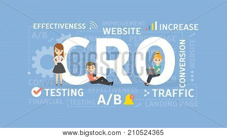 Conversion rate optimization concept illustration. Idea of traffic, testing and web sites.