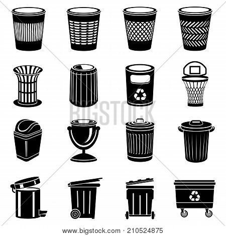Trash can icons set. Simple illustration of 16 trash can vector icons for web