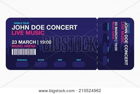 Concert ticket template. Concert party or festival ticket design template with people crowd on background. Vector