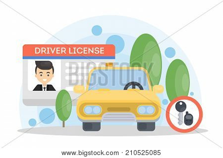 Man's driver license. Id card and automobile.