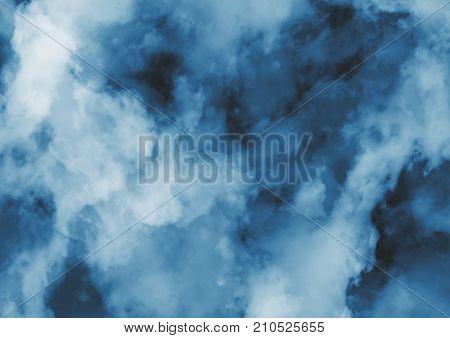 Abstract Dark Blue Smoke Or Fog Background, Illustration