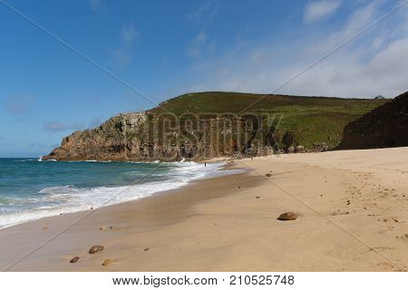 Portheras Cove Cornwall secluded beach on the Cornish coast South West of St Ives between Pendeen and Morvah
