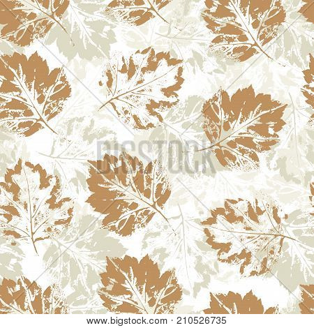 Colorful seamless pattern of autumn, fall howthorn leaves, hand made ink print, stamp, vector illustration on white background. Hand printed multi layered grunge seamless pattern of autumn leaves