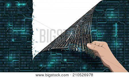 Hacker breaks an abstract computer system a network screen antivirus tears a binary array matrix cyberspace well organized layers