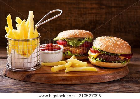 Various Burgers With French Fries