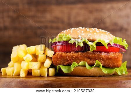 Fish Burger With French Fries