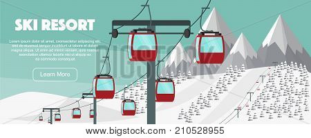 Ski resort lift flat vector illustration. Alps fir trees mountains wide panoramic background. Aerial ropeways hills winter web banner design. Ski resort concept, ropeway lift. Ski panoramic resort.