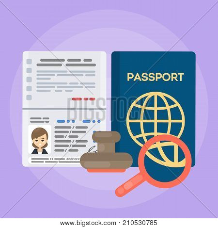 Opened female's passport. Identification documents for citizen with stamp.