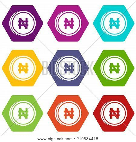 Coin naira icon set many color hexahedron isolated on white vector illustration