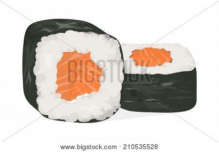 Sushi rolls set. Syake maki rolls with fish, vegetables and nori.