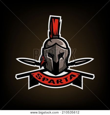 Spears and Spartan battle helmet logo on a dark background.