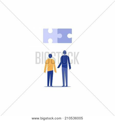 Technology solution concept, team work, joint venture, common ground, open source development project, innovation and integration, work together, vector icon, flat illustration