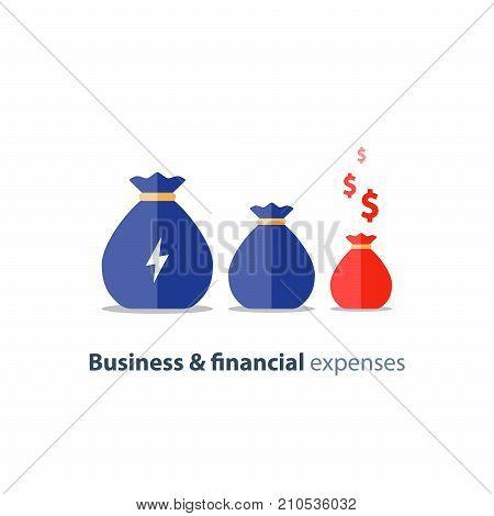 Budget deficit, finance shrinkage, income decrease, business devaluation, corporate expenses, financial burden, negative trend, vector icon, flat illustration