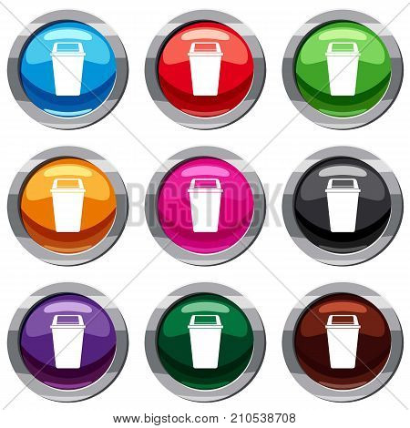Plastic flip lid bin set icon isolated on white. 9 icon collection vector illustration