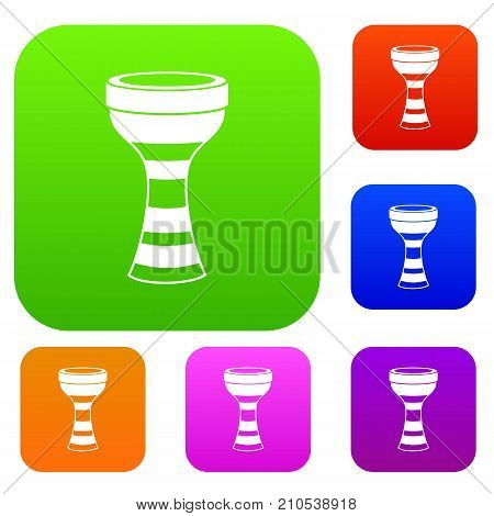 African drum set icon color in flat style isolated on white. Collection sings vector illustration