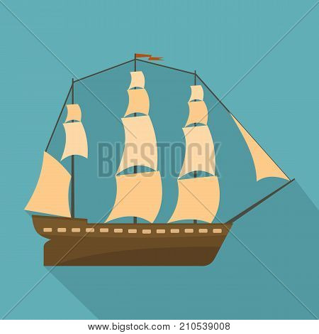 Sailboat icon. Flat illustration of sailboat vector icon for web