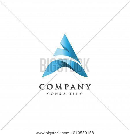creative letter A logo, letter A flow logo design, letter A blue logo, elegant letter A vector concept