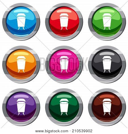Litter waste bin set icon isolated on white. 9 icon collection vector illustration