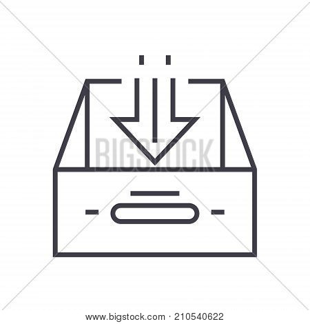 business inbox line icon, sign, symbol, vector on isolated background
