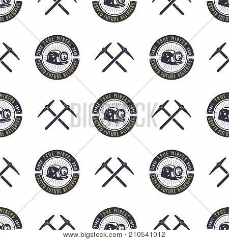 Crypto Mining concept seamless pattern, pickaxe and bitcoin wallpaper, crypto concept. Digital assets background. Vintage han drawn monochrome design. Stock vector illustration isolated