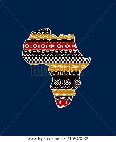 Textured Africa continent on blue traditional mudcloth ornament, vector background