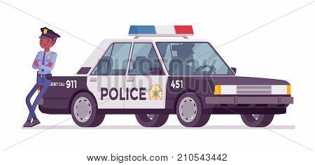 Policeman near patrol car. Black male officer standing at the police auto ready for high-speed chase, watching road traffic. Vector flat style cartoon illustration isolated on white background
