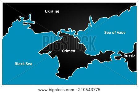 Simplified map republic of Crimea. Vector illustration
