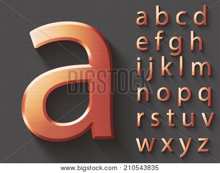 Set of copper 3D lowercase english letters. Copper metallic shiny font on gray background. Good typeset for technology and production concepts. Transparent shadow, EPS 10 vector illustration.