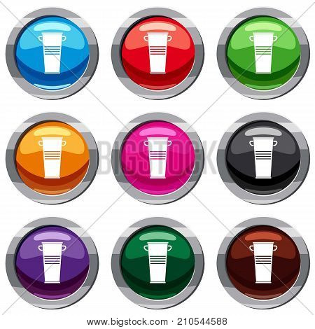 Trash can with handles set icon isolated on white. 9 icon collection vector illustration