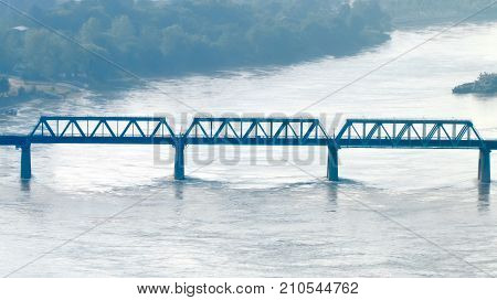 Side view on old railway truss swing pan bridge over the Han river in Wuhan Hubei China