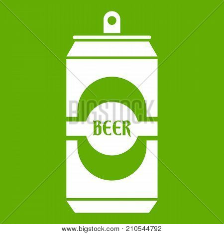 Aluminum can icon white isolated on green background. Vector illustration