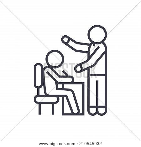 teaching proccess, student and teacher line icon, sign, symbol, vector on isolated background