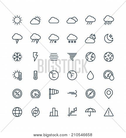 Vector thin line icons set and graphic design elements. Illustration with weather and meteo outline symbols. Sun, cloud, rain, snow, moon, thermometer, humidity, umbrella flat linear pictogram