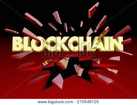 Blockchain Technology Breakthrough Data Security Breaking Glass 3d Illustration